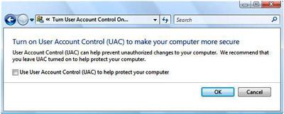 Disabling Windows Vista UAC