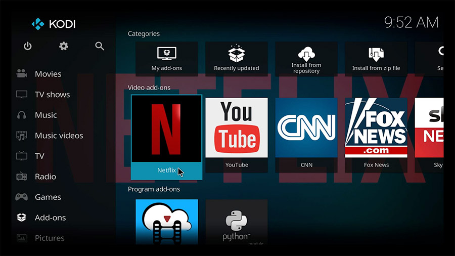 Kodi user interface