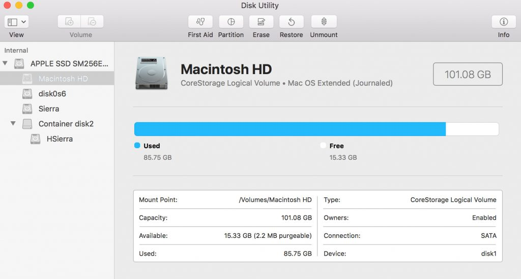 Partition in Mac OS Disk Utility app
