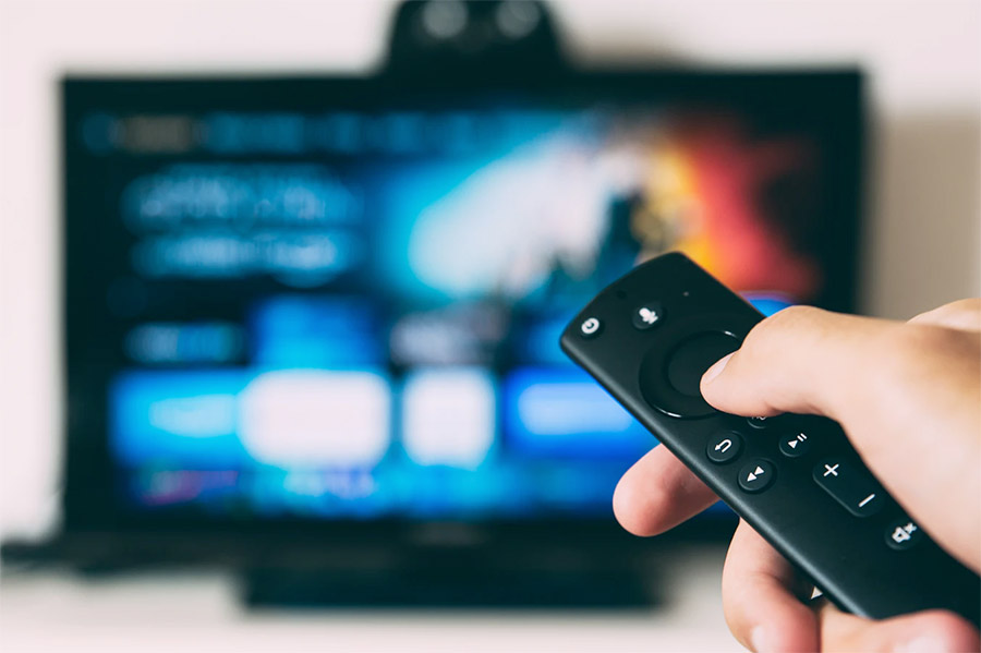 Using the remote to navigate to Amazon Fire Stick