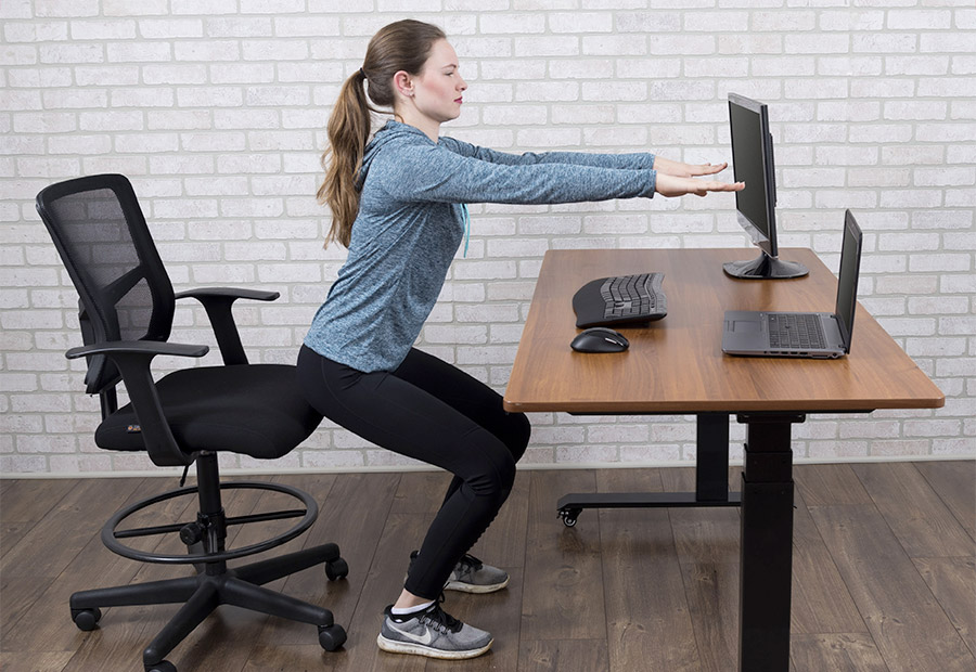 Simple squats while working