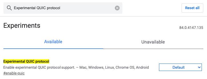 Experimental QUIC Protocol option in Google Chrome