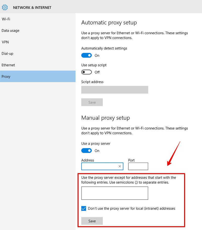 Manual proxy setup on Windows 10